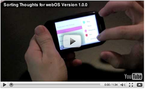 Sorting Thoughts for webOS version 1.0.0 hands on video